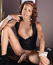 Chyna. Ebony ladyboy Chyna posing her long hot penish